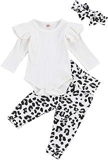 Geagodelia Babykleidung Set Baby Mädchen Kleidung Outfit Langarm Body Strampler  Leopard Hose  Stirnband Neugeborene Weiche Babyset T-48272