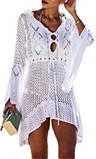 Women's Sexy Beach Trumpet Sleeves Hollow Out Knit Bikinis Cover up