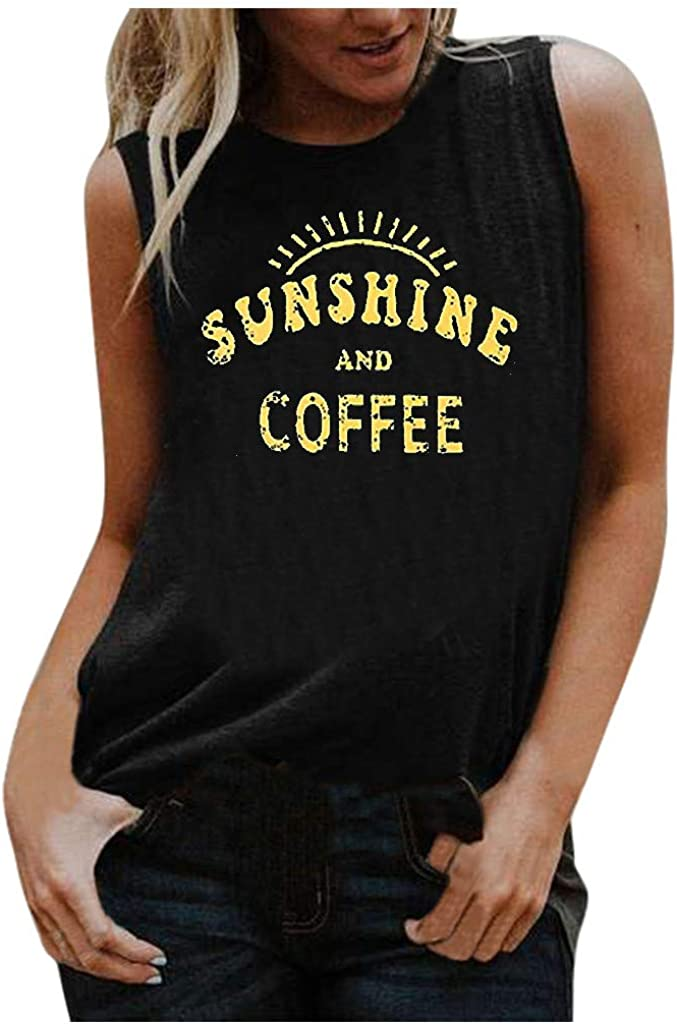 FABIURT Tank Tops for Women, Womens Summer Sling O Neck Letter Print Down Front Casual Loose Tops Sleeveless Blouses