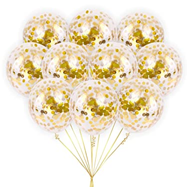 Large Gold Foil Confetti Balloons   Vibrant Confetti Pre-Filled   Wedding Engagement Birthday Party Events (16 Pack Gold, 18 Inches)