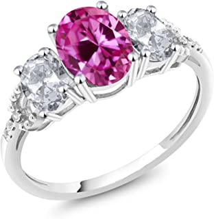Gem Stone King 10K White Gold Pink Created Sapphire White Topaz and Diamond Accent 3-Stone Engagement Ring 2.70 Ctw (Available 5,6,7,8,9)