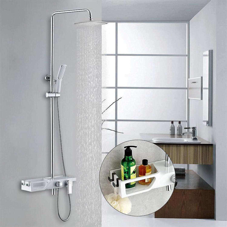 Homelody Duschsystem Regendusche Duscharmatur Duschset Rainshower mit Handbrause Brausestange Duschsule Kopfbrause Dusche Set für Bad
