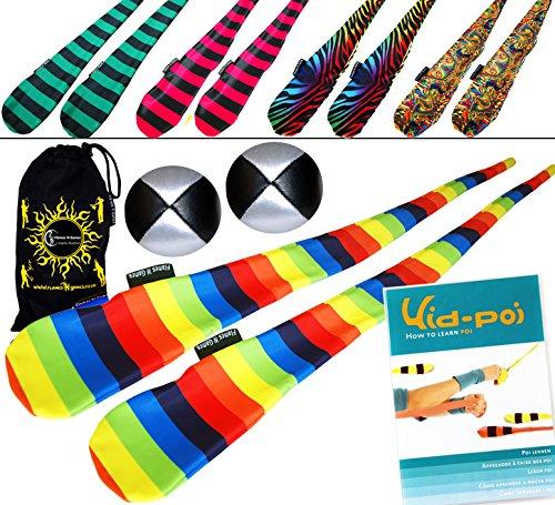 Funky Sock Poi Set (5 Designs) Pro Poi Spinning Socks AKA Tube Poi + 2X Balls, KidPoi DVD & Travel Bag. (Zebra)