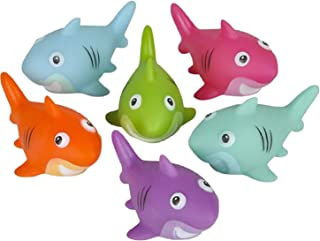 Kicko Shark Water Toys - 12 Pack, 2 Inch Assorted Rubber Squirt Games - Bath Toys, Summer Beach Toys, Educational Game Set...