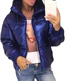 Howely Womens Solid Warm Winter Zipper Stand Up Collar Satin Jacket