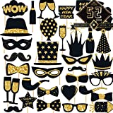 Funnlot 52PCS New year photo booth props 2021 props New Years Eve Photo Booth Props New Year Photo Booth 2021 Selfie for Kids Adults New Years Eve Photo Booth Props for Happy New Year Decorations