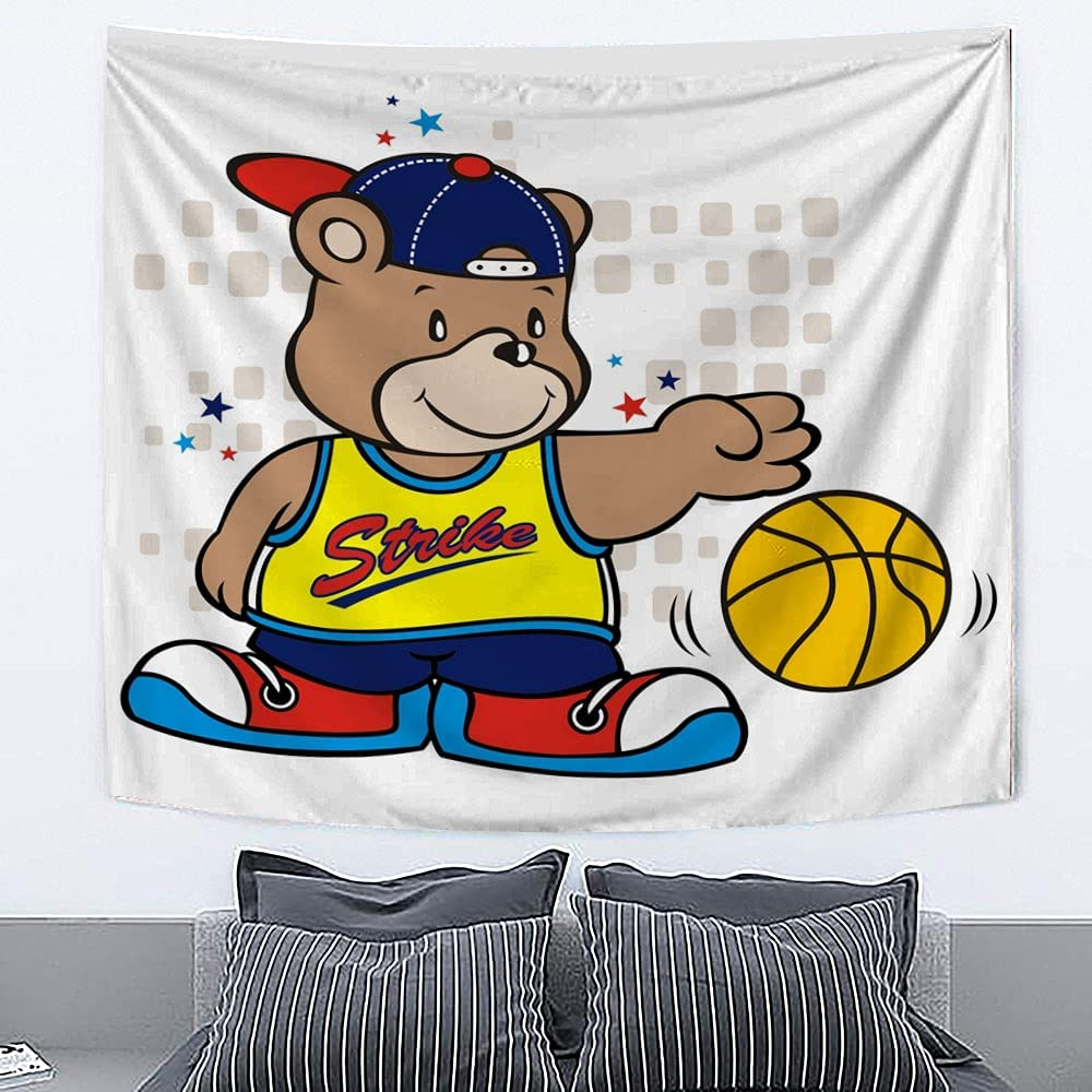 GETYSORA Bears Playing safety Basketball Tapestry Home Wall Dec Hanging Wholesale