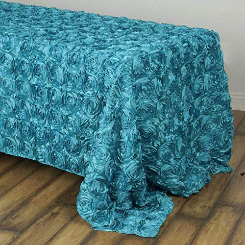 "Efavormart 90""x132"" Wholesale Rectangle Table Cover Turquoise Grandiose Rosette 3D Satin Tablecloth for Wedding Party Event Decor"