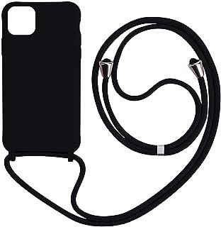 2ndSpring Funda con Cuerda Compatible con Xiaomi Redmi Note 8 Pro,Carcasa TPU Suave Silicona Case con Correa Colgante Ajustable Collar Correa de Cuello Cadena Cord/ón,Albaricoque Rojo Gris