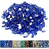 Grisun Cobalt Blue Fire Glass for Fire Pit, 1/2 Inch High Luster Reflective Tempered Glass Rocks for...