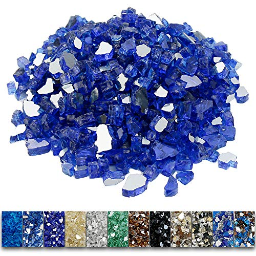 Grisun Cobalt Blue Fire Glass for Fire Pit, 1/2 Inch High Luster Reflective Tempered Glass Rocks for Natural or Propane Fireplace, Safe for Outdoors and Indoors Firepit Glass, 9 1/2 Pounds
