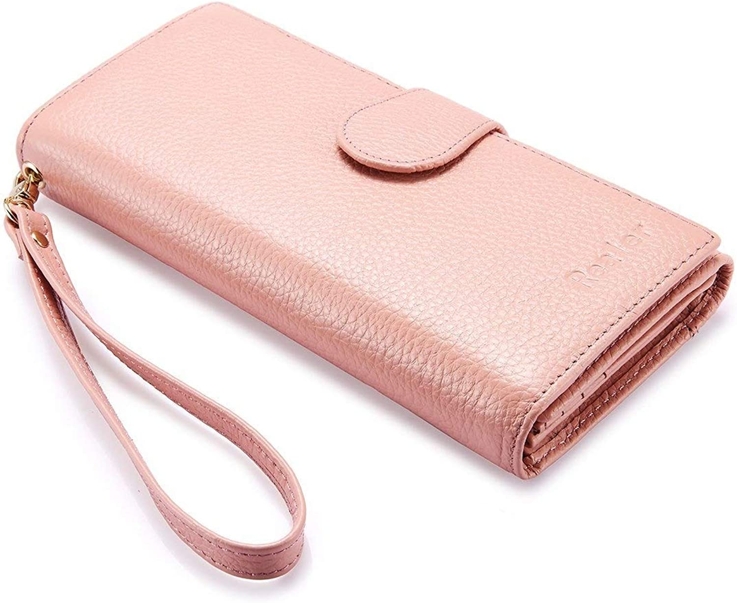 Wallets for Women Rfid Blocking Genuine Leather Long Ladies Wallet Purse with Wristlet Strap Bifold