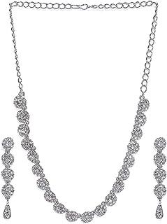 Zaveri Pearls Dazzeling Flowers Austrain Diamnond Non Precious Metal Necklace Setfor Women-ZPFK465 (White)