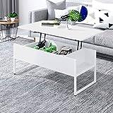 Outwin Table Basse Relevable à Grand Espace Rangement Caché, pour Bureau et Salle à Manger,Style Moderne Table Salon Structure en Acie pour Travailler et Manger (Blanc&Blanc)