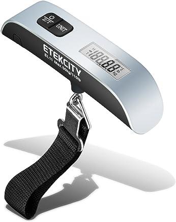 Etekcity Bilancia Digitale Pesa Bagaglio Valigie 50kg/110lb con Sensore di Temperatura, Con Funzione Zero e Tare,Batteria Inclusa,Dargento e Nera