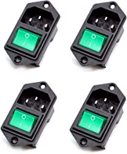 Oiyagai 4pcs IEC320 C14 Inlet Module Connector Male Power Socket w Switch AC 250V 10A (Green)