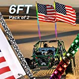 YCHOW-TECH 2PCS 6FT Spiral RGB Led Whip Light with Spring Base Chasing Light RF Remote Control Lighted Antenna Whips for Can am ATV UTV RZR Polaris Dune Buggy Offroad Truck