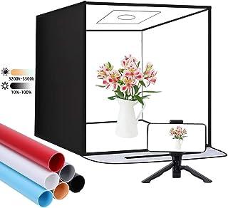 Photo Studio Light Box, SAMTIAN 16''/40CM Photo Box Kit with 2 Bi-Color Led Light Bars Adjustable Brightness and 6 PVC Bac...