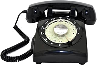 Retro Rotary Telephone, Glodeals 1960's Retro Design Classic Style Dial Telephone for Home and Office (Black-)