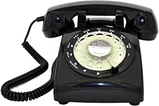 Retro Rotary Telephone, Glodeals 1960`s Retro Design Classic Style Dial Telephone for Home and Office (Black-)