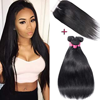 Brazilian Straight Hair With Closure 100% Unprocessed Virgin Human Hair 3 Bundles With Lace Closure Middle Part Hair Extensions (12 14 16 + Closure 10)