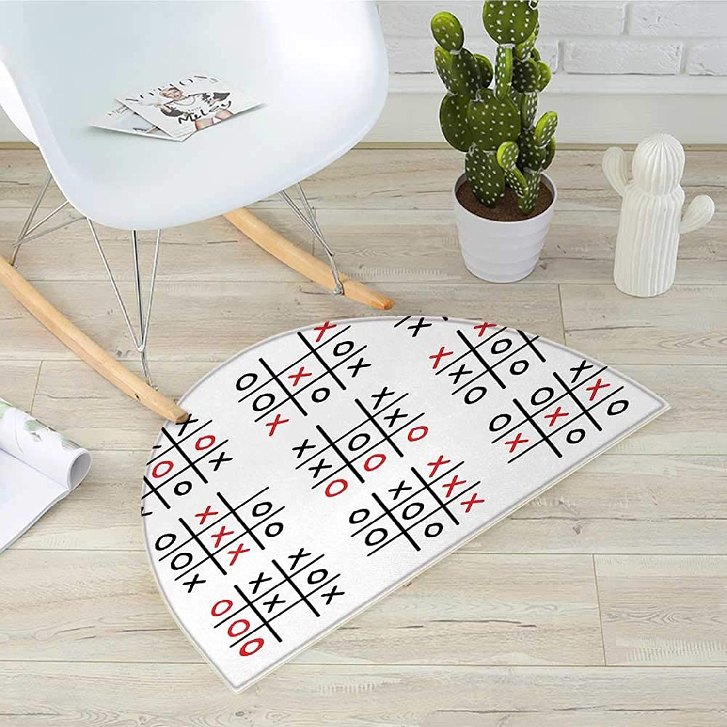 Xo Half Round Door mats Doodle Style Tic Tac Toe Game Set Table with X and O Letters Artistic Design Bathroom Mat H 51.1  xD 76.7  Black White and Red