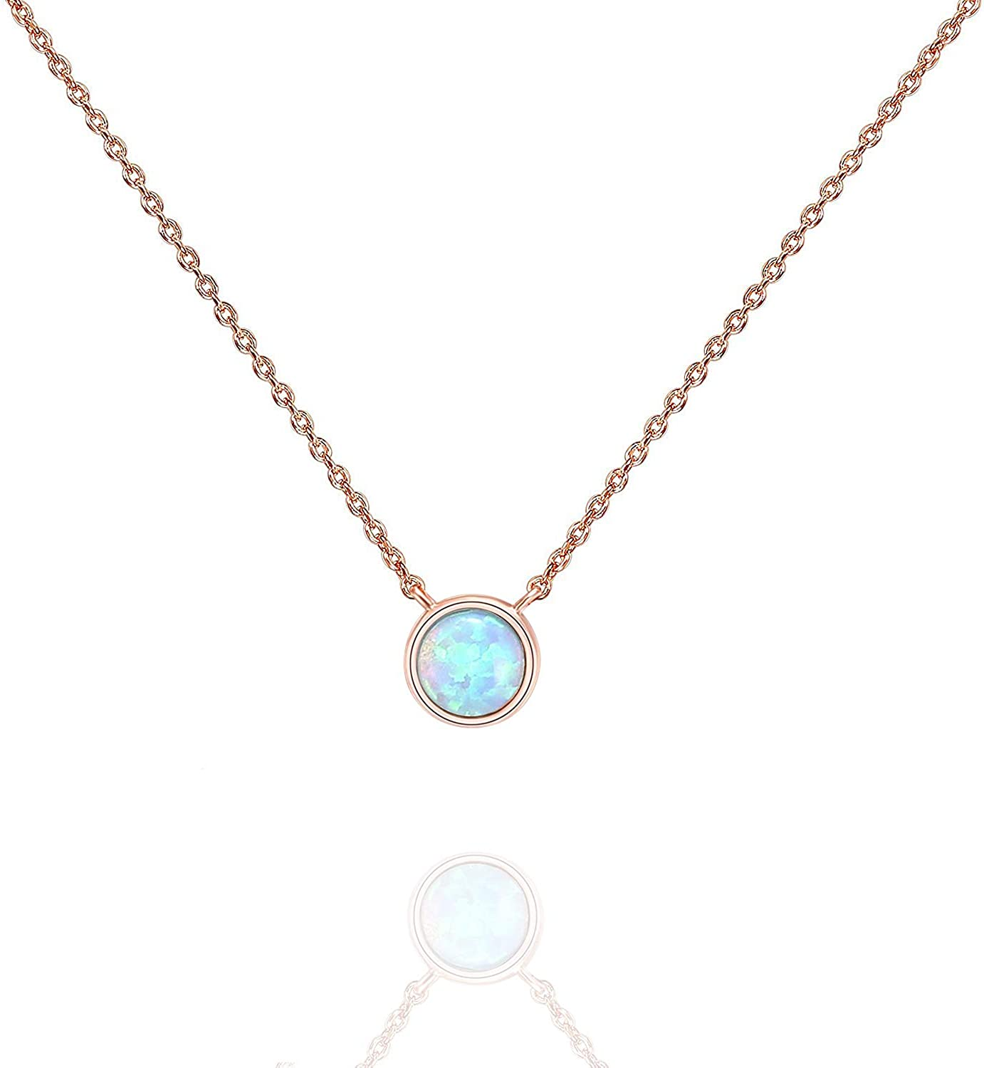 PAVOI 14K Gold Plated Created Opal Necklace   Opal Necklaces for Women