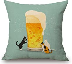 Cartoon Painted Lovely Animal Adorable Cat Beer Fish Funny Daily Life Cotton Linen Decorative Throw Pillow Case Cushion Cover Square 18 X18