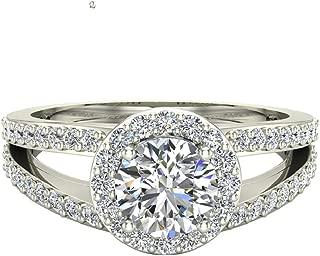 Split Shank Halo Engagement Ring Diamond Round Center 1.40 ctw 14K Gold - GIA Certificate