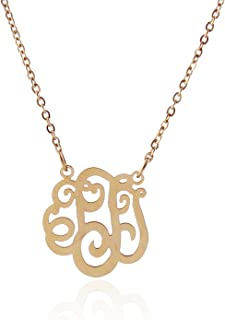 Initial Monogram Necklace for Best Friend 14k Gold Plated Stainless Steel, 16+2