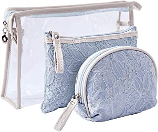 IYOU 3 Paquete Bolso de Cosméticos Azul Cordón Bolsas de maquillaje Bolsas de aseo Moda Portátil Belleza Bolsa de maquilla...