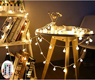 Elite Choices 50 LED Warm White Globe String Lights with Remote, 26 Feet Battery Operated Fairy Starry Lights Decorating for Home Patio Party Garden Festival Christmas Wedding Indoor and Outdoor