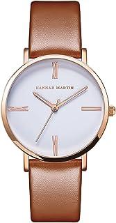 HANNAH MARTIN 日本の運動腕時計シンプルな表面ベルト腕時計レディース学生クォーツ防水時計-モデル HM3802 (ブラウン)