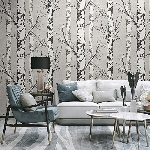 Blooming Wall Modern Birch Tree Wall Mural Wallpaper for Livingroom Bedroom, 57 Square Ft/Roll (Wallpaper(57 Square ft/Roll))
