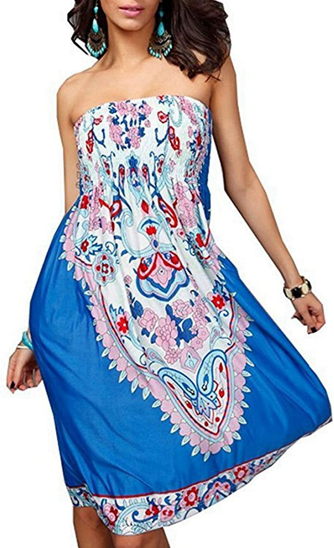 M.Brock Strapless Beach Dress Bohemian Cover Up  Baroque Floral Sundress Vintage Tube Summer Dress