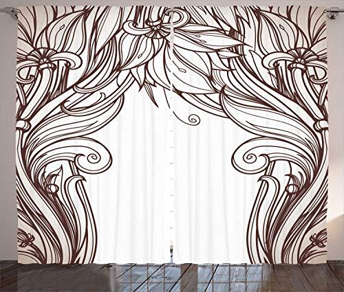 ABAKUHAUS Jugendstil Rustikaler Vorhang, geschwungene Branchen, Wohnzimmer Universalband Gardinen mit Schlaufen und Haken, 280 x 260 cm, Seal Brown White