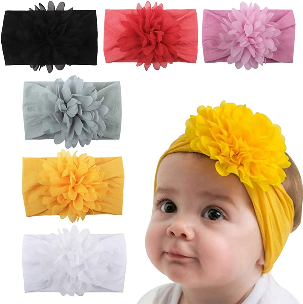 LERTREE 6 Pack Baby Girl's Headbands with Chiffon Flowers Soft Headwraps Caps Infant Head Bands