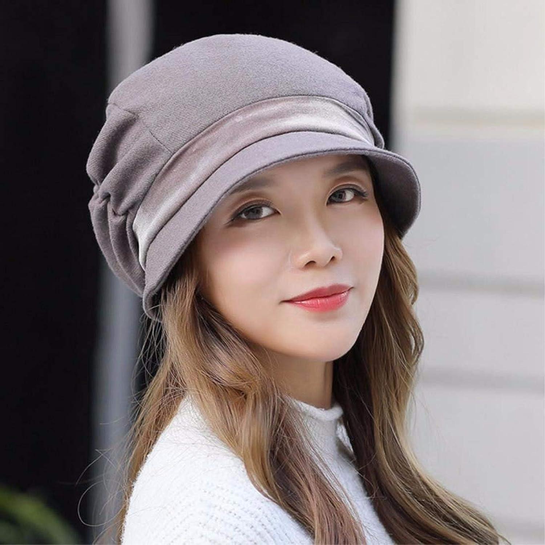Dingkun Women's hat autumn winter fashion Beret warm hat mid aged hat anise cap