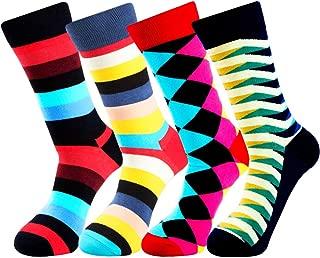 Novedad de los hombres Divertidos calcetines locos Funky Pattern Cool Long Cotton Colorful Dress Crew Calcetines