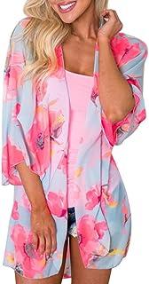 Tootu Women Chiffon Loose Shawl Print Kimono Cardigan Top Cover up Beachwear