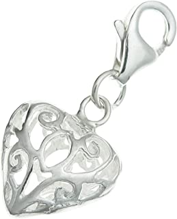 Dreambell .925 Sterling Silver Heart Love Filigree Dangle Bead Clasp European Lobster Trigger Clip On Charm