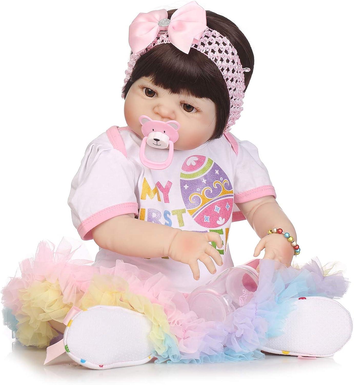 IIWOJ Realistisch wiedergeborene Baby Doll, Lovely Silicone Vinyl 22.05 Zoll-lebensike Neugeborene Acryl Eyes Safe Non Toxic B07MP38YFL Reparieren    In hohem Grade geschätzt und weit vertrautes herein und heraus
