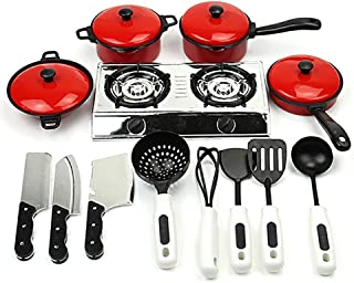 Potato001 Kids Play Toy Kitchen Cooking Food Utensils Pans Pots Dishes Cookware Supplies Multi size Red