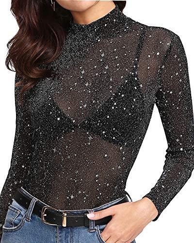 Mangopop Women's High Neck Glitter Long Sleeve Mesh Tops Tee Blouse (Blak Silver, Small)