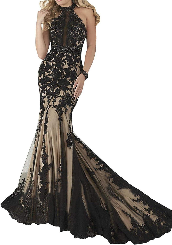 Promworld Women's Halter Neck Off The Shoulder Evening Dress Lace Applique Mermaid Long Prom Dress