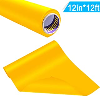 Iron-on HTV Vinyl 12inch x12feet Heat Transfer Vinyl Roll for Silhouette and Cricut by Somolux Easy to Cut & Weed Iron on Vinyl Heat Press, DIY Design for T-Shirts Yellow