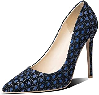 Pointed Embossed High Heels For Banquet Wedding Dress Daily (Color : Blue, Size : 35)