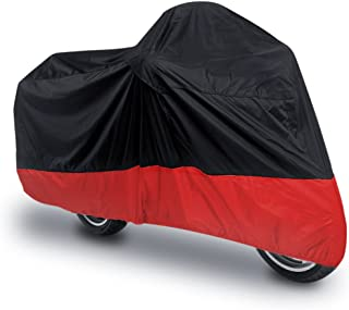 uxcell L 180T Rain Dust Motorcycle Cover Black Red Outdoor UV Waterproof 86 inches for Honda Victory Kawasaki Yamaha Suzuki Harley Davidson