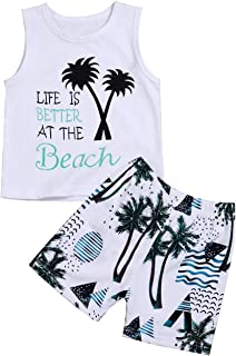 Xuuly Infant Baby Boys Clothes Beach Vest T-Shirt and Palm Short Pant Summer Outfit Set