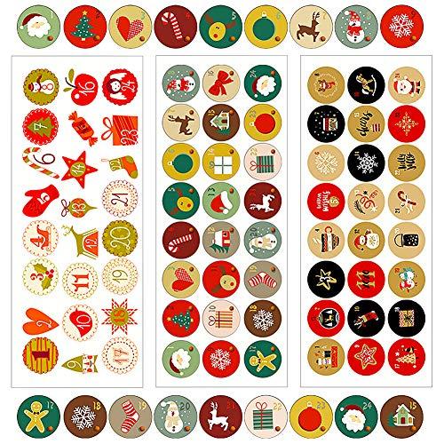 CHEPL Pegatinas Navideñas Etiquetas Adhesivas Navidad Stickers 216 Pegatinas Números de Navidad 9 hojas Temáticos de Navidad para Regalos de Bricolaje, Etiquetas para Hornear, Decoración de Navidad